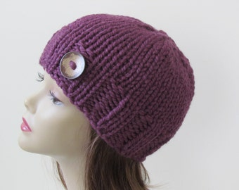 Chunky Knit Hat Winter Hat Chunky Knit Beanie Womens Hat Teens Hat - Fig Purple with Button Accent  - Ready to Ship - Gift for Her