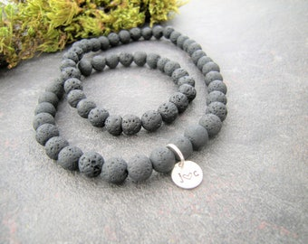 Boyfriend gift, Lava necklace for man, Black Lava stone bracelet, necklace for man, natural stone, Mans necklace, Personaliyed Gift for man