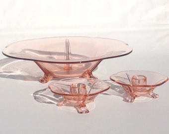 Fostoria Pink Glass Console Bowl & Taper Candle Holders | Rose Scallop Serving Dish + Footed Candlestick Pair | Depression Ware 2394