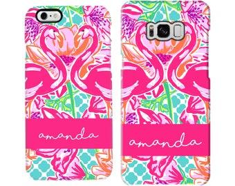 Aqua Quatrefoil Preppy Flamingo Personalized Phone Case - iPhone Case - Samsung Galaxy Case