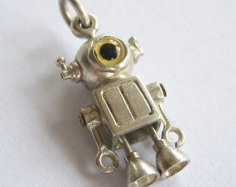 robot jewelry BABY CYCLOPS steampunk robot sterling silver and glass