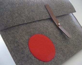 Unique Wool felt Mac Air Sleeve 13 inch- grey - eye popping appliqued red circle-leather closure