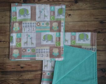 Teal Brown Safari Animal Burp Cloths