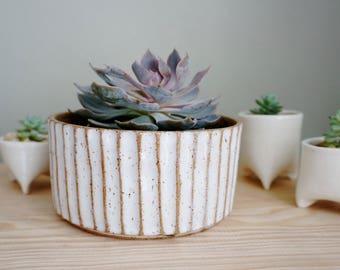 Ready to Ship   Palisades White Planter. Handmade ceramic planter.