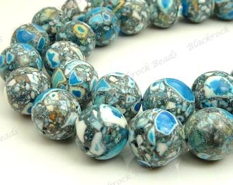 10mm Blue, Gray and White Mosaic Turquoise Round Gemstone Beads - 19pcs - BA26