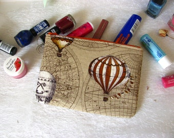 Zippered pouch with hot air balloons, makeup bag, phone case, purse