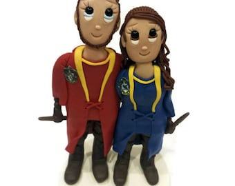 Custom Harry Potter Themed Gryffindor and Ravenclay Quidditch Uniforms Wedding Cake Topper