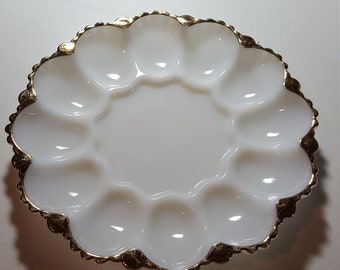 Vintage Fire King (Anchor Hocking) Deviled Egg Plate from the 1960's. With 22K Gold Scalloped Edge.