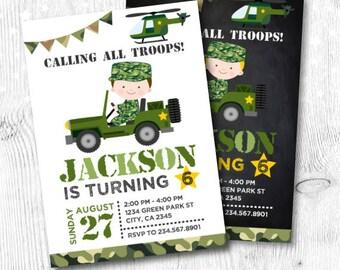 Army Invitations, Camo Invitations, Soldier Birthday Invitations, Army Birthday Invitation, DIGITAL Invitation, 2 options
