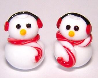 Stylish Earmuff Snowmen Lampwork Beads by Cara
