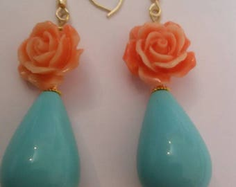 Two-tone pendants in turquoise and coral roses with silver monachella 925 gold plated