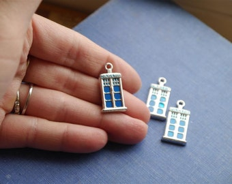 2 Blue Enamel and Antique Silver Tardis Police Box Telephone Box Dr. Who Inspired Charms Pendants 27mm (SC1079)
