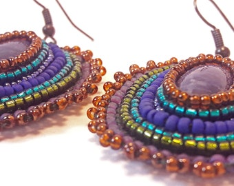 Amethyst Beaded Embroidered Gemstone Earrings