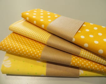 four coupons 50 x 50 cm, shades of yellow 100% cotton fabric