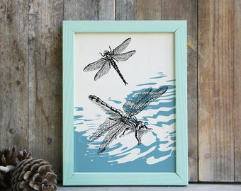 Dragonflies Poster, Dragonflies Wall Hanging, Bedroom Decor, Insects Print, Dragonfly Wall Art, Nature Wall Decor, Gift Under 10