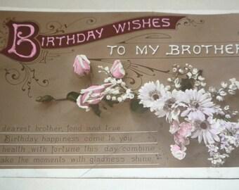 Souhaits de bon anniversaire à mon frère Antique Postcard