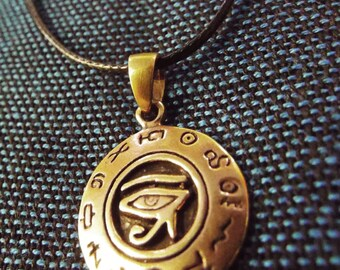 Eye of Horus Eye of Ra Pendant Ancient Egyptian Handmade Copper Necklace Jewelry