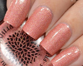 Peach Holo Shimmer with Micro Glitter Nail Polish by Black Dahlia Lacquer - Peach Crocuses