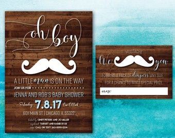 Little Man Baby Shower Invitation | Mustache Baby Shower Invitation | Rustic Baby Invitation | Boy Baby Shower | Little Man on the Way