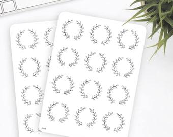 FW06 | Flower Wreath Sticker | Decorative Sticker | Date Stickers | Planner Stickers | Bullet Journal Stickers