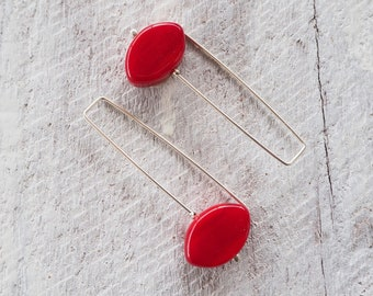 Long red glass bead earrings. Modern style red earrings perfect for everyday.Stylish and comfortable.Makes a great gift for her or yourself
