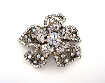 Crystal Flower Hair Accessory Barrette Clip Gold Tone Clear