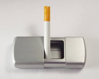 Personalized Portable Pocket Ashtray Custom Engraved Satin Silver Finish -Hand Engraved