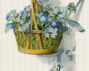 Instant Digital Download Scan Vintage Blue Forget Me Nots in Basket Flowers ECS