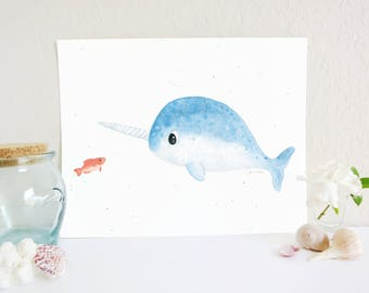 Narwhal Art Print, Arctic Art Print, Narwhal Decor, Whale Art Print, Arctic Art, Ocean Nursery Decor, Ocean Nursery Art Print, Baby Room Art
