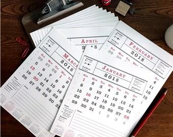 2018 Wall Calendar, Printable Calendar, Monthly Clipboard Calendar, Typography, Print Yourself, Holidays, Moon Phases, Birthdays, Astrology