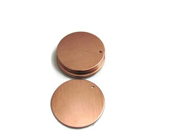 "1"" Copper Blanks - 22 gauge -with holes - Hand stamping metal blanks - enameling blanks - patina blanks - enameling metals"