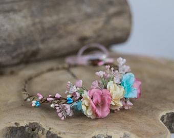 flower hair wreath romantic pastel pink blue ivory wedding crown bridal headpiece woodland headwreath hair flowers
