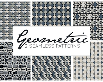 Geometric Patterns, Vector Patterns, Seamless Patterns, Digital Paper, Commercial Use Scrapbook Pages 12x12 Black and White Instant Download