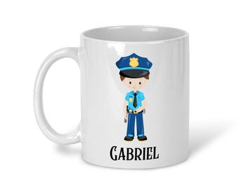 Kids Personalized Ceramic Mug - Police Boy Girl with Name, Child Personalized Mug, Colored Rim and Handle, Color Heat Reactive