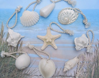 18 Seashell and Starfish Wedding Favor Ornaments - White, Ivory and Pearly Seashells and Starfish