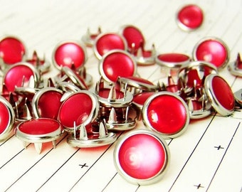 48 rose corail cow-girl Snaps broches perle Western Snaps
