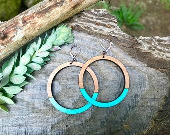Wooden Earrings - Large Hoops