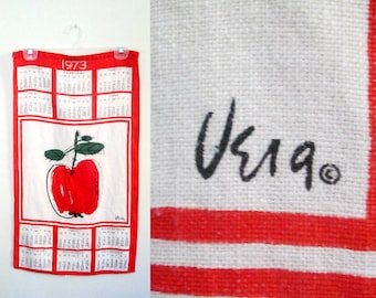 Vera Neumann Apple Tea Towel Vintage 1973 Calendar Linen Kitchen Decor