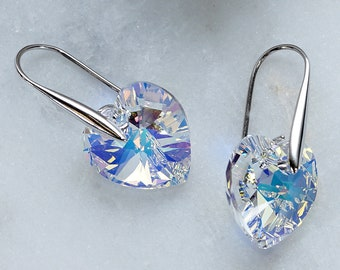 Swarovski Earrings, Heart Aurora Borealis Crystal Earrings, Bridesmaid Earrings, Bridesmaid Gifts Jewelry, Birthday Gift, Wedding Earrings