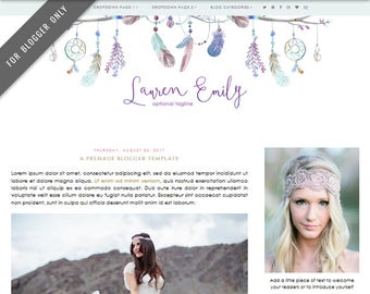 Blogger Template - Mobile Responsive & Dropdown Menu - Watercolor Design Blog - INSTANT DOWNLOAD - Lauren Emily Theme