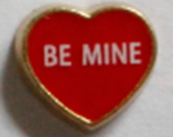Be Mine on Red Heart  HGC0433 Floating Charm for Glass Memory Locket