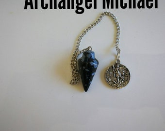 "Code 813 An Angel and the Fairies, this is called our ""Archangel Michael"" snowflake obsidian infused pendulum"