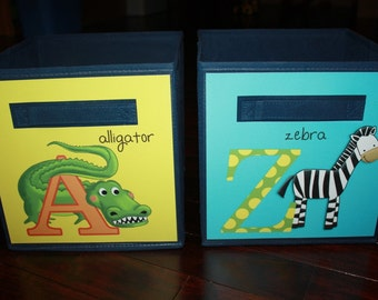 Set of 2 A to Z Alphabet Fabric Bins Kids Playroom Bedroom Baby Nursery Organizer for Toys or Clothing 2FB010