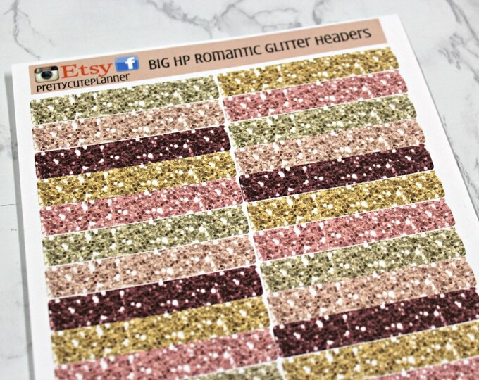 BIG HP Planner Stickers - Winter Romance Glitter Header Sticker - Erin Condren Life Planner - Happy Planner - Pink and Gold Glitter Stickers