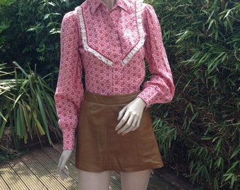 ORIGINAL 60s 70s floral western country cowgirl blouse shirt with poppers XS S uk 8 10 *details tbc*