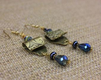Handmade Brass Stamped Metal Dangle Earrings