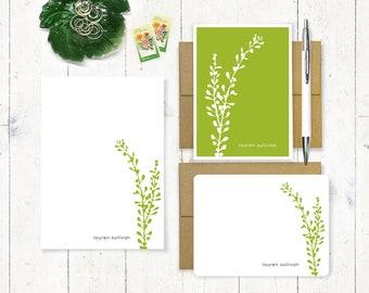 Personalized Stationery Set - note card and notepad stationary set - flower stationery - botanical gift set - choose color - LEAFY STEM