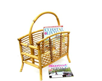 Vintage Bamboo Magazine Rack Mid century Rattan Furniture Retro Tropical Beach Bungalow Decor
