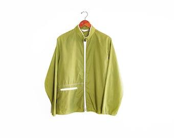 vintage windbreaker / nylon windbreaker / surf jacket / 1960s green zip up windbreaker Medium