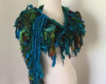 sale Deep blues and green Recycled silk hand knitted boho tattered rag scarf